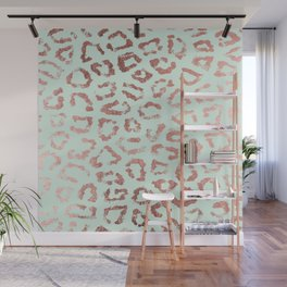 Trendy rose gold neo mint leopard animal print Wall Mural