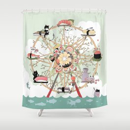 The Sushi Wheel Shower Curtain