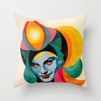goddess Throw Pillows featuring Goddess by Alvaro Tapia Hidalgo