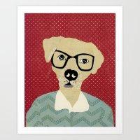 labrador Art Prints featuring Labrador  by Colorfly Studio