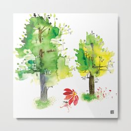 Summer Trees Umbrella Walk Metal Print