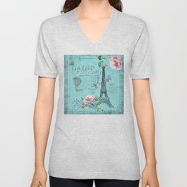 Paris - my blue love Unisex V-Neck