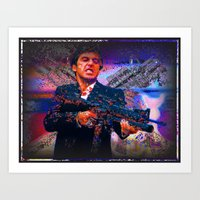 scarface Art Prints featuring scarface by Moonlight Creations
