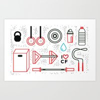 crossfit Art Prints featuring CrossFit Love by Golden Heart