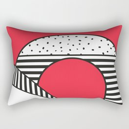 Minimal Design of a city in Red and Black and White Rectangular Pillow