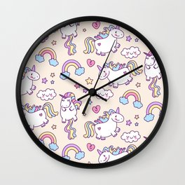 Cute unicorn pattern with heart and rainbow. Magic and fairy tale collection. Wall Clock