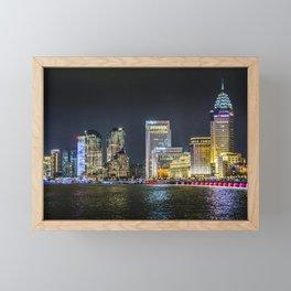 Pudong District Night Scene, Shanghai, China Framed Mini Art Print