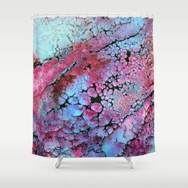 Magenta in turquoise Shower Curtain