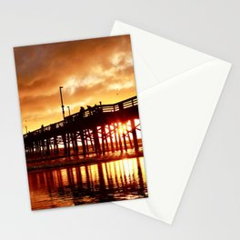 Newport Beach Pier cloudy sunset Stationery Cards