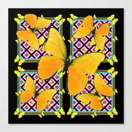 Golden Yellow Butterflies Pattern On Black Canvas Print