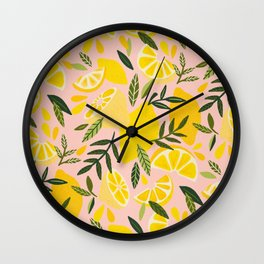 Lemon Blooms – Blush Palette Wall Clock