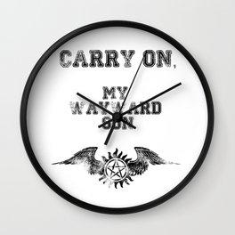 """Carry on, my wayward son"" Supernatural Print Wall Clock"