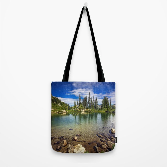 Mountain Lake in the Mt Rainier National Park Tote Bag