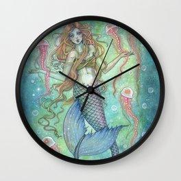 The Jellies Mermaid Jellyfish Watercolor Illustration Art Wall Clock