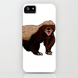 Honey badger illustration iPhone Case