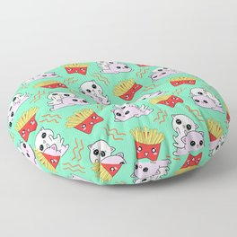 Cute sweet adorable Kawaii playful cats, yummy happy funny French fries cartoon light pastel teal green pattern design. Kittens and comfort food. Floor Pillow