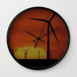 Windmills at Sunset  Wall Clock