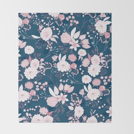Elegant mauve pink white navy blue rustic floral Throw Blanket