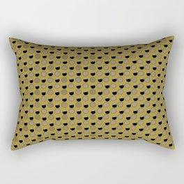 Black and Beige Dots on Gold Rectangular Pillow