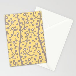 Mid Century Modern Spring Blossoms Gray and Yellow Stationery Cards