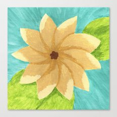 Yellow Painsetta on Aqua Background Canvas Print