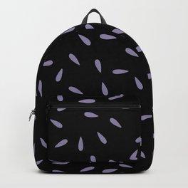 Light Purple Raindrops on Black Background Backpack