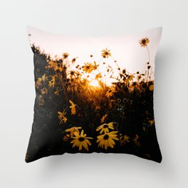 California Sunshine and Flowers Throw Pillow
