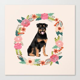 rottweiler floral wreath dog breed pet portrait pure breed dog lovers Canvas Print