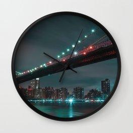 Magnificent Historic Brooklyn Bridge Manhattan New York Independence Day Romantic Nightlife Ultra HD Wall Clock