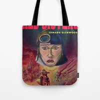 "book cover Tote Bags featuring ""Red Sisters"" Book Cover by 7 Hells: Retro Horror art of Bill Rude"