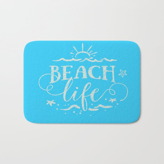 BEACH life - white Typography on Aqua for your summer - Mix & Match Bath Mat