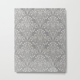 Art Nouveau Flourish Damask Pattern – Neutral Medium Gray Metal Print