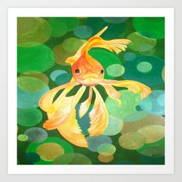 Vermilion Goldfish Swimming In Green Sea of Bubbles Art Print