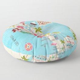 Anna Maria Island Map Floor Pillow