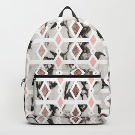 Modern Marble Rose Gold Blush Pink Geometric Backpack