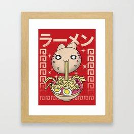 Hungry Ramen Cat / Noodles Japan Framed Art Print