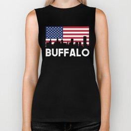 Buffalo NY American Flag Skyline Biker Tank