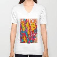rabbits V-neck T-shirts featuring - rabbits - by Magdalla Del Fresto