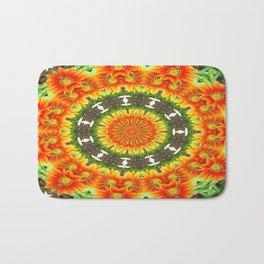 Kaleidoscopic Orange Garden Gazanias Bath Mat