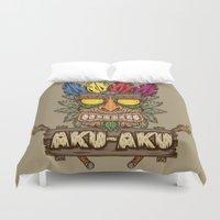 playstation Duvet Covers featuring Aku-Aku (Crash Bandicoot) by Pancho the Macho