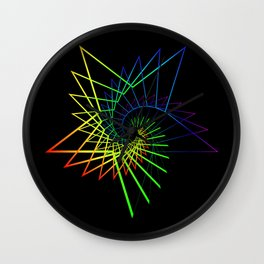 Neon star from a spiral. Wall Clock