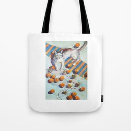 cat and mandarines Tote Bag