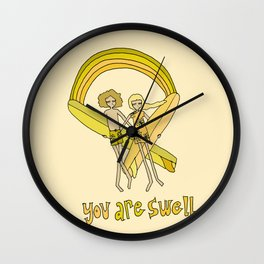 you are swell, surf love // retro surf art by surfy birdy Wall Clock