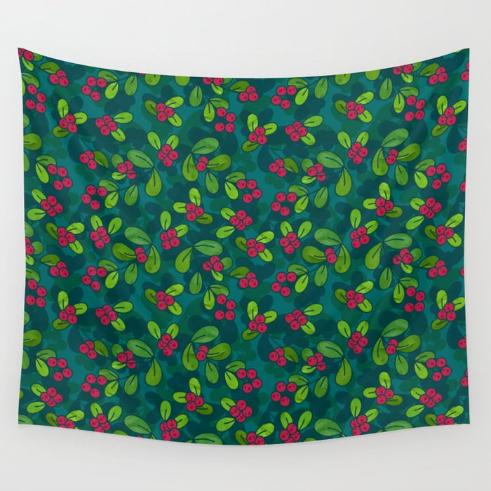 Cranberry Fruit Pattern on Dark Teal Wall Tapestry