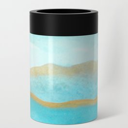 Gold and blue sea Can Cooler