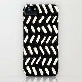 Tribal Dance Dot - Ivory on Black iPhone Case