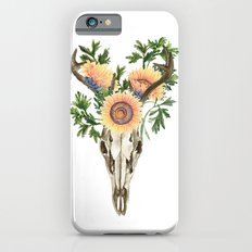 Bohemian deer skull and antlers with flowers iPhone 6s Slim Case