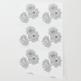 Ink Illustration of Summer Blooms Wallpaper