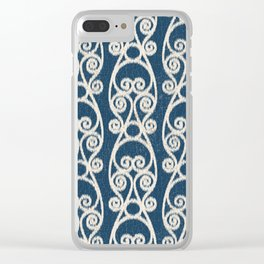 Crackled Scrolled Ikat Pattern - Navy Cream Clear iPhone Case