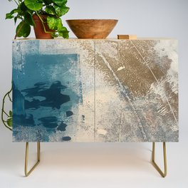 Embrace: a minimal, abstract mixed-media piece in blues and gold with a hint of pink Credenza